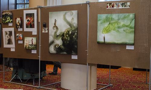 Art Show. Artist Guest of Honor Galen Dara's work.